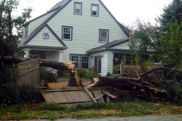 A house on Route 9 in Dobbs Ferry suffered damage from Hurricane Sandy.