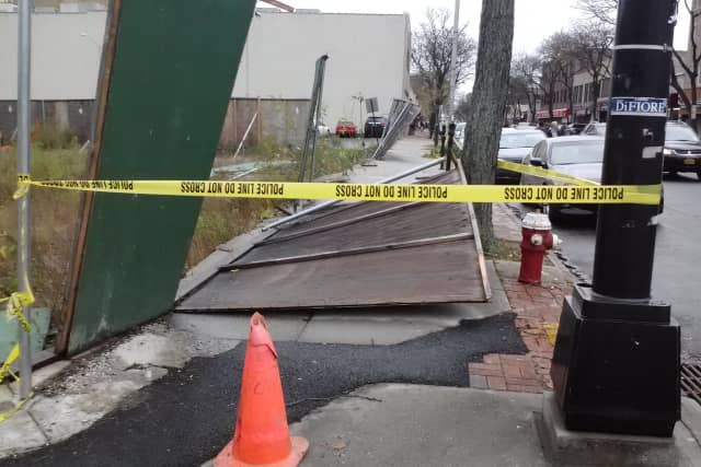 A fence on Gramatan Avenue at the intersection of Oakley Avenue was destroyed by Hurricane Sandy.