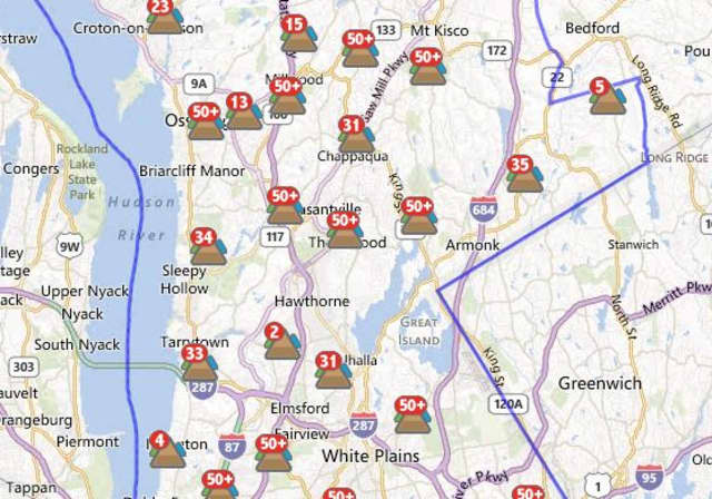 More than 60 percent of Rivertowns customers were without power Tuesday afternoon.