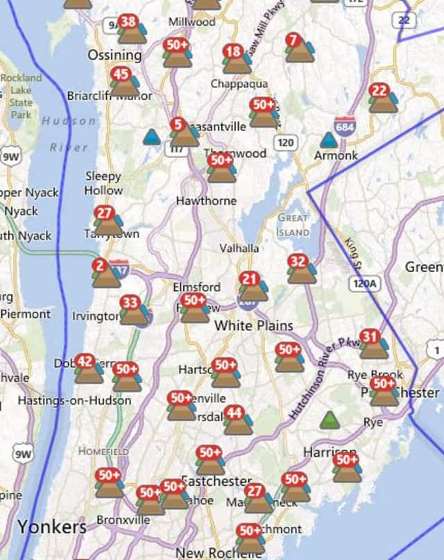More than 8,000 customers in Port Chester were without power Tuesday afternoon.