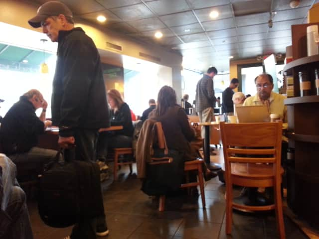 Starbucks on Purchase Street in Rye was packed with residents looking for WiFi and coffee on Wednesday.
