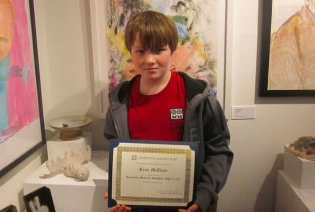 Ryan McElroy, of Wilton, an honorable mention in youth sculpture.