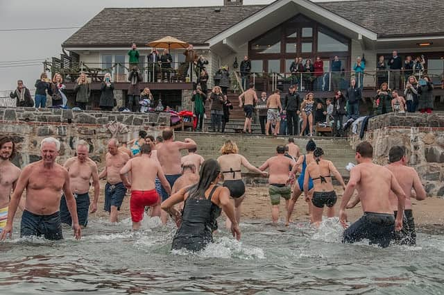 Swimmers in Long Island Sound at a Swim Across America event earlier this year.