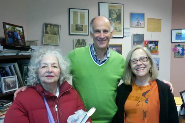 Cari Gardner, right, poses with Town Supervisor Paul Feiner and a Hastings woman who requested her help on Wednesday.