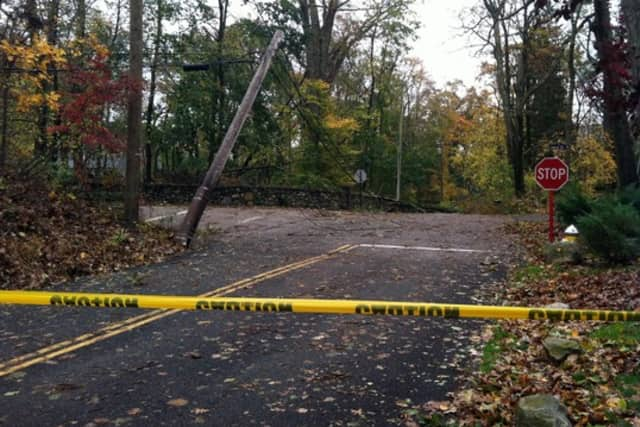 A tree fell on a wire, closing this portion of Old Briarcliff Road at Central Drive West in Briarcliff.