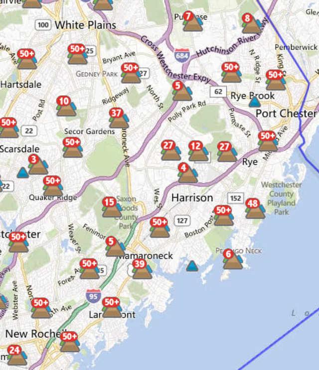 The Con Edison outage map for Port Chester, N.Y.