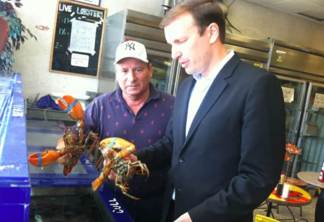 U.S. Sen. Chris Murphy, D-Conn., and Roger Frate, owner of Darien Seafood Market, during a recent stop to talk about the health of the lobster industry.
