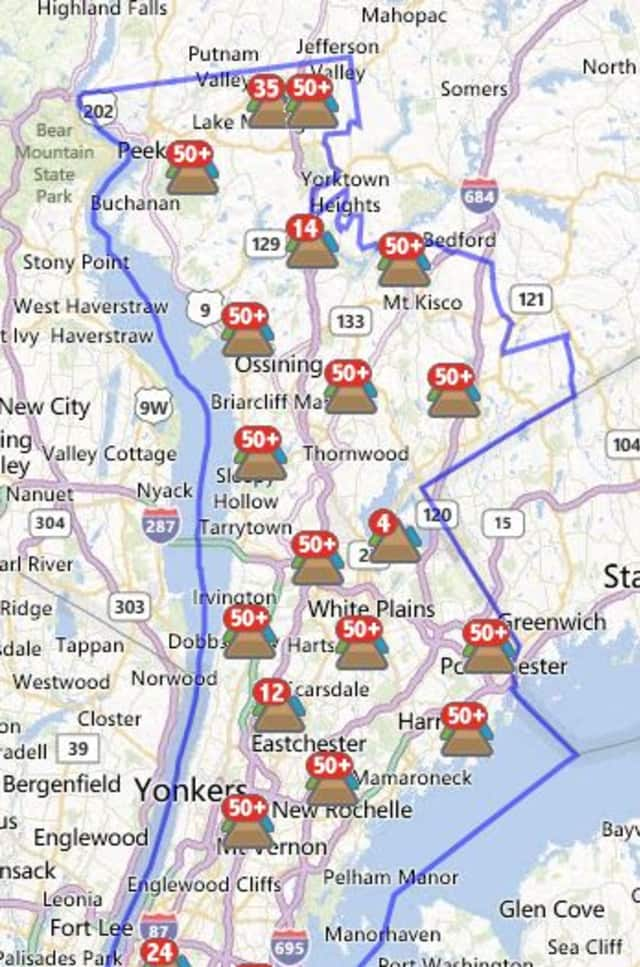 More than 1,000 customers in Larchmont were without power Saturday morning.