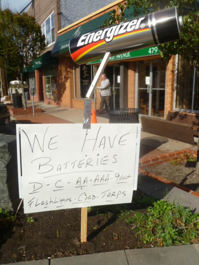Ardsley Hardware was the place to go for batteries before power came back on in the business district Friday.