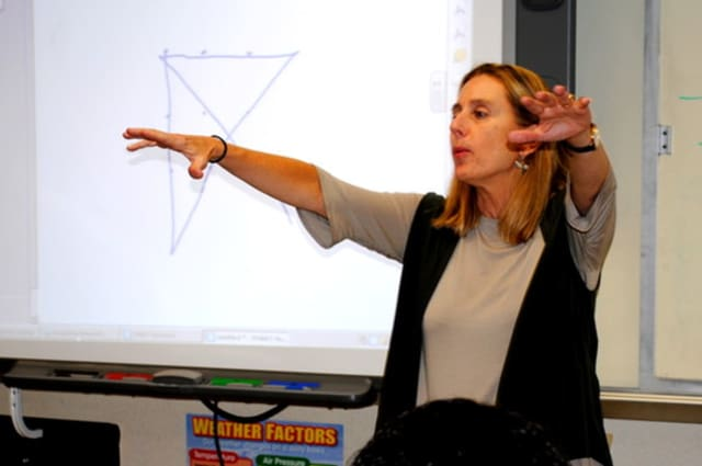 Sustainability expert Jamie Cloud talks to Ossining High School students in this file photo.