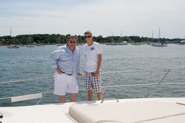 Peter X. Kelly with son, Dylan, gets into summer mode.