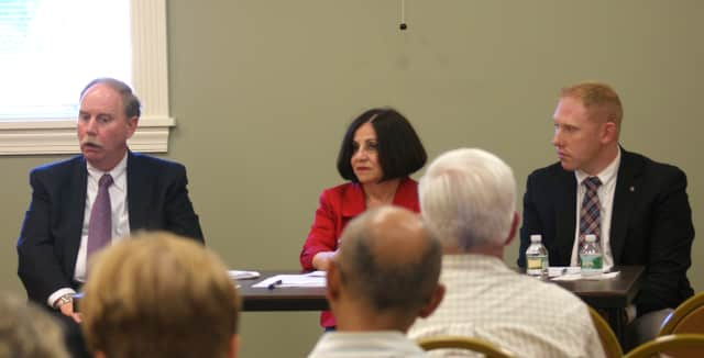 State Rep. Harding, State Sen. Boucher and State Sen. McLachlan met with constituents at the Bethel Library on June 24.