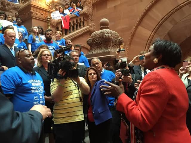 State Sen. Andrea Stewart-Cousins addresses the crowd at a May rally in support for additional money for Yonkers schools.