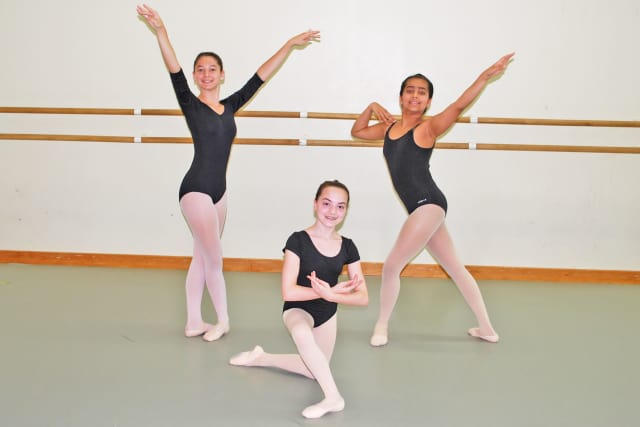 Dancers in the studios at Purchase College, as they prepare for their July 3 performances left to right: Isabella Sperry (Weston); Rebecca Szabo (Norwalk); Esha Iyengar (Wilton).