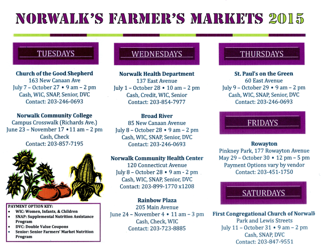 Summer farmers markets will bring color, taste and buying power to Norwalk residents.