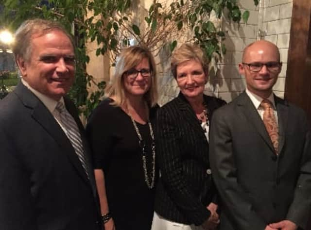 Westchester County Clerk Tim Idoni, Dr. Amy Bass, new President Christina Selin and Jon Garrow at a luncheon celebrating their election.