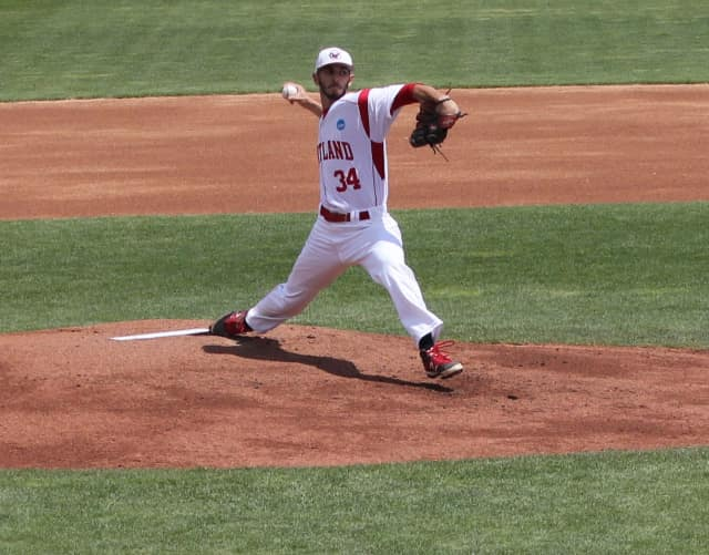 Brandon Serio, a senior pitcher for SUNY Cortland and graduate of Fox Lane High School in Bedford, led the Red Dragons to their first-ever College World Series win in May.