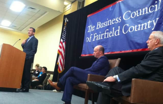Gov. Dannel P. Malloy speaking at The Business Council of Fairfield County's Annual General Meeting on Wednesday in Stamford.