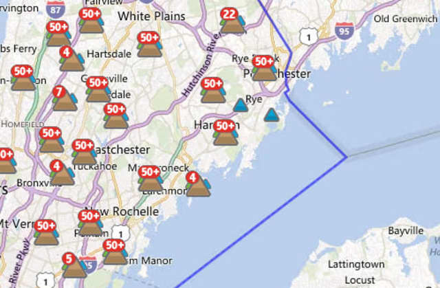 An estimated 60,063 out of 348,198 Con Edison customers in Westchester were without power at 5:30 p.m. Monday.