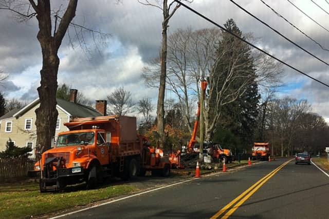 Ridgefield residents are asked to take caution when driving about town Monday as roads may be completely blocked by line and tree crews working to restore power.