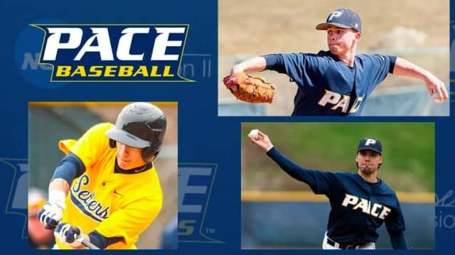 David Pepe, Mackenzie King and Jonathan Chudy are representing Pace in semi-pro ball this summer.