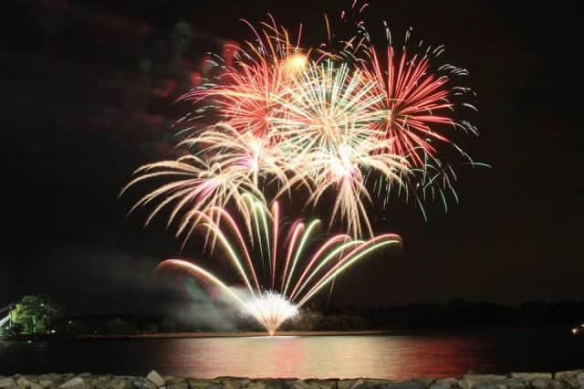 Fireworks over Long Island Sound in Mamaroneck.