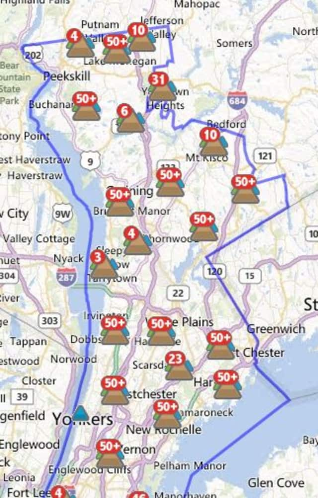 More than 480 Larchmont customers were without power Tuesday morning.