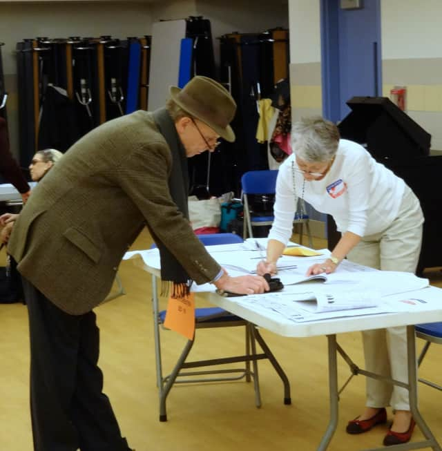 Election inspector Danielle Bertocci has been busy making sure Bronxville voters know what to do.