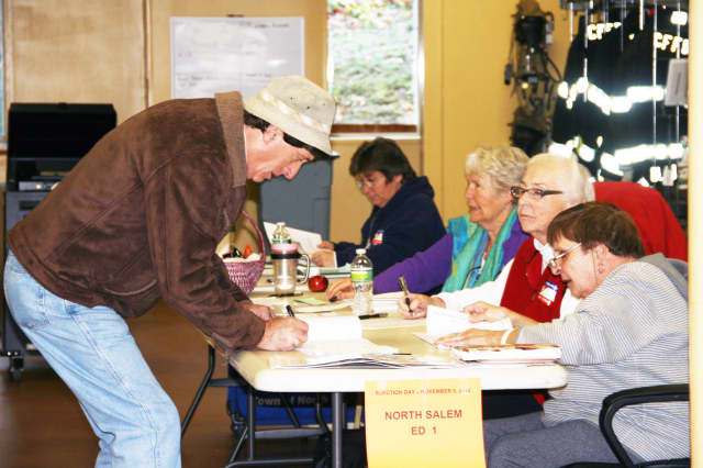 The Croton Falls Firehouse had a steady stream of voters Tuesday morning.