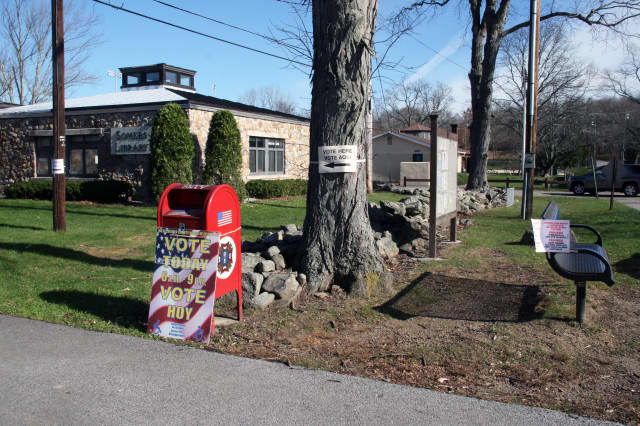 The polls at Somers Library were busy on Tuesday morning.