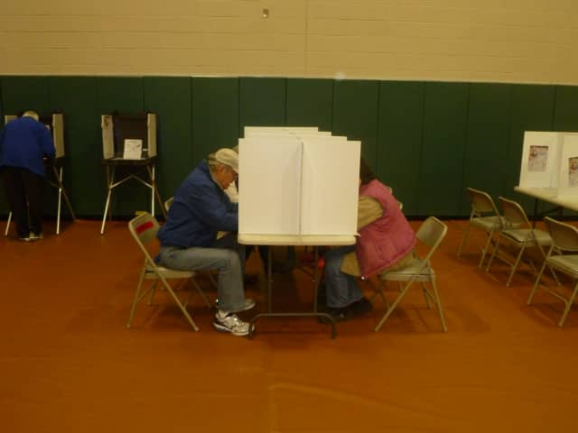 Redding voters filled out ballots at the Community Center.