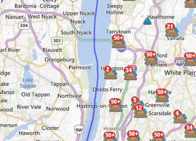 An estimated 6 out of 2,529 Con Edison customers were without power in Bronxville at 11:30 a.m. Wednesday.