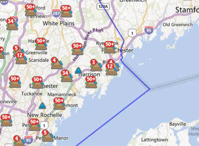 An estimated 1,705 out of 6,070 Con Edison customers in the city of Rye and 566 out of 3,720 in Rye Brook at 11:30 a.m. Wednesday