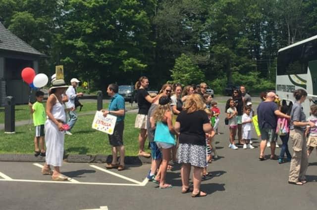 Ridgefield families await the arrival of this year's Fresh Air Fund children last week.