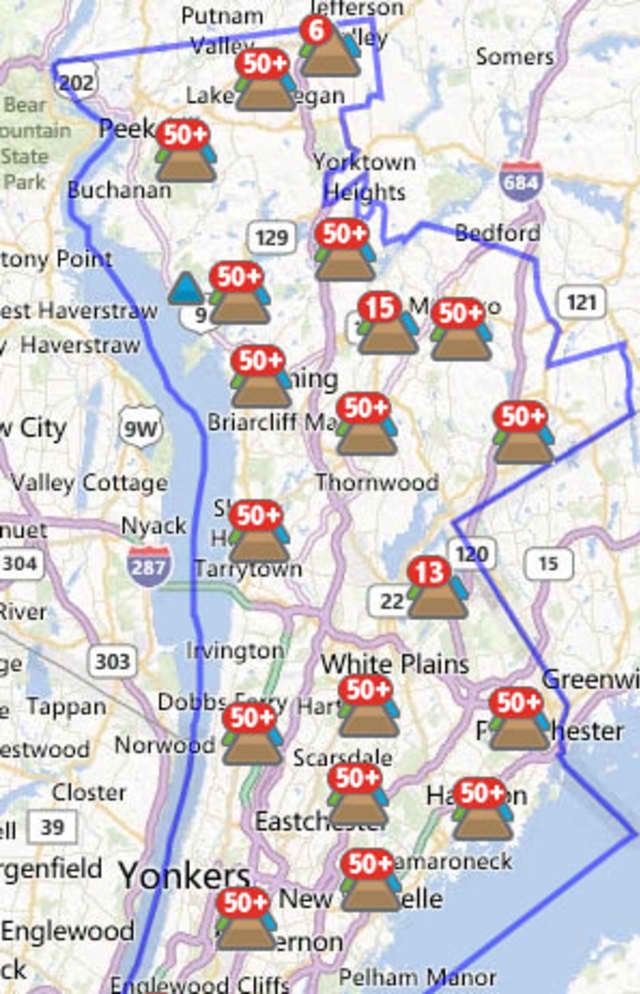 The number of Bronxville residents without power went up from six to nearly 60 Wednesday night, possibly due to the nor'easter that swept through.