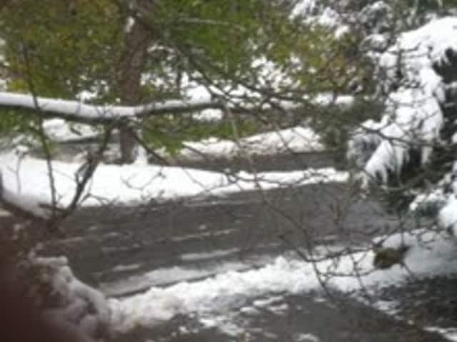 An open but slippery road in Chappaqua Thursday morning.