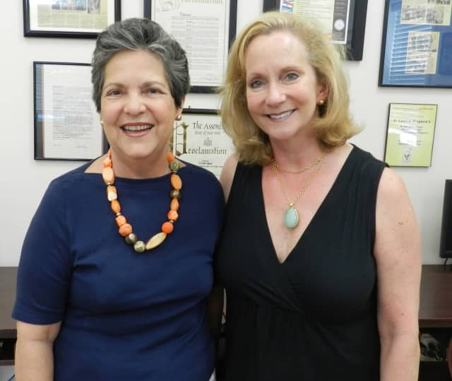 From left, Isabel E. Villar, founder and Executive Director of El Centro Hispano and joins Woman's Club of White Plains Event Chair Maryann Martin to announce the date of the organization's annual Corks and Forks fundraiser.