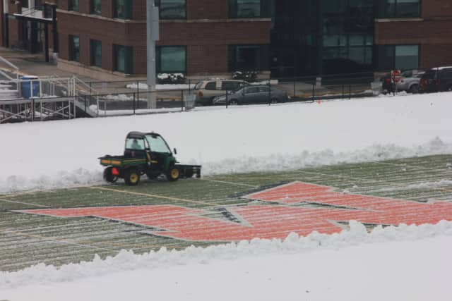 The Mamaroneck High School football field gets covered in snow during the nor'easter Wednseday.