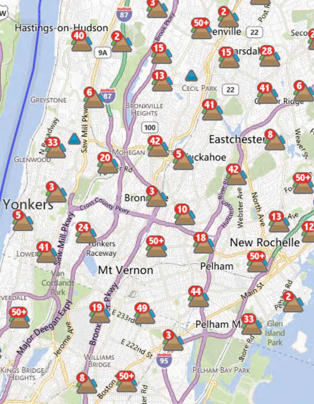 About four percent of Con Edison's approximately 75,000 customers in Yonkers, or about 3,000 customers, were without power at 8 a.m. Friday.