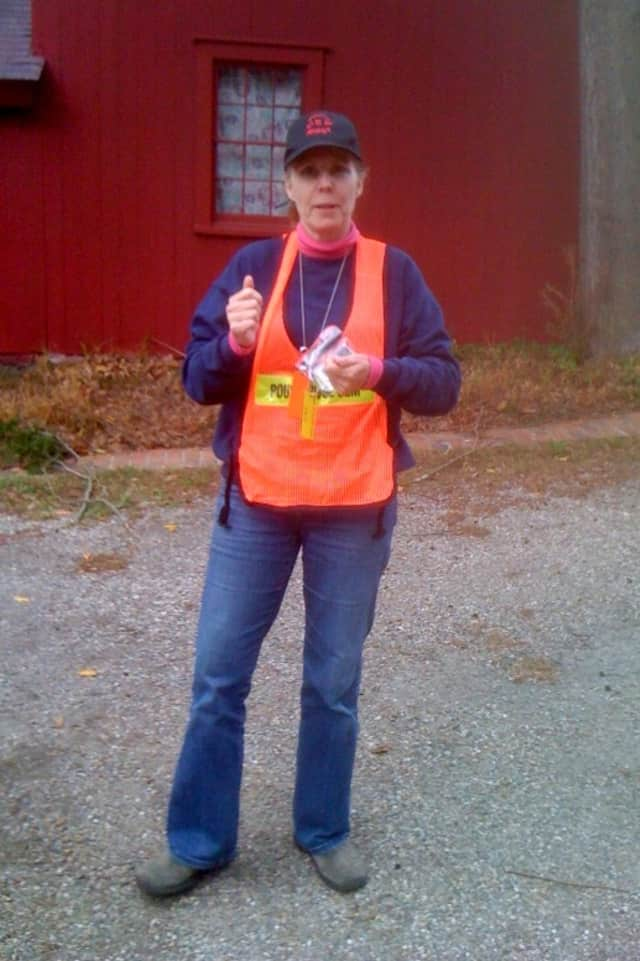 Jacquie Vlymen in her Pound Ridge Office of Emergency Management vest.