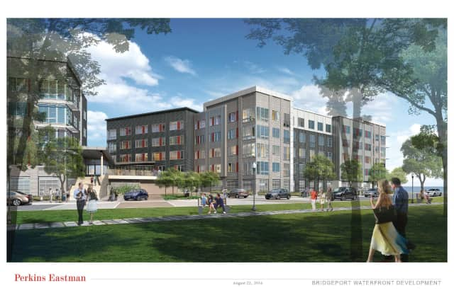 A rendering of the new development proposed for Bridgeport's South End.