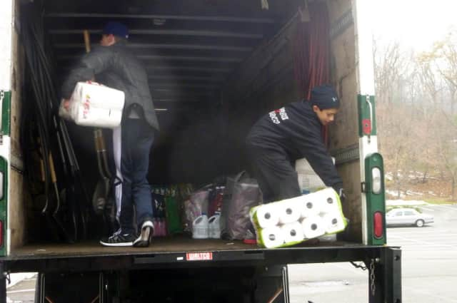 Donations for Hurricane Sandy victims were collected Saturday at Club Fit in Briarcliff Manor.