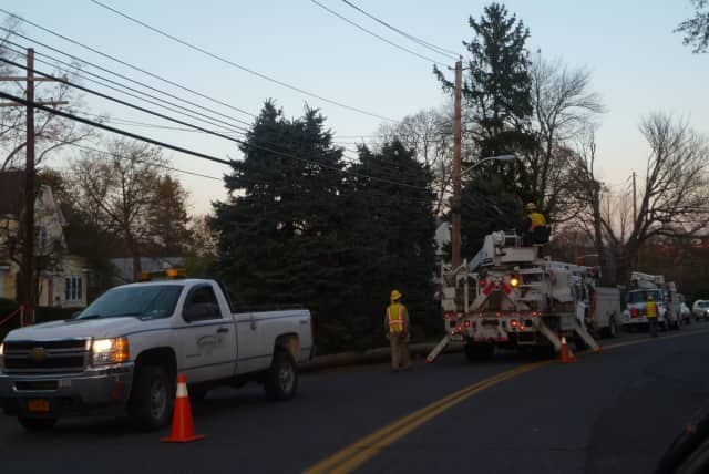 Consolidated Edison crews have been working to restore power in Harrison since Hurricane Sandy struck on Oct. 29.