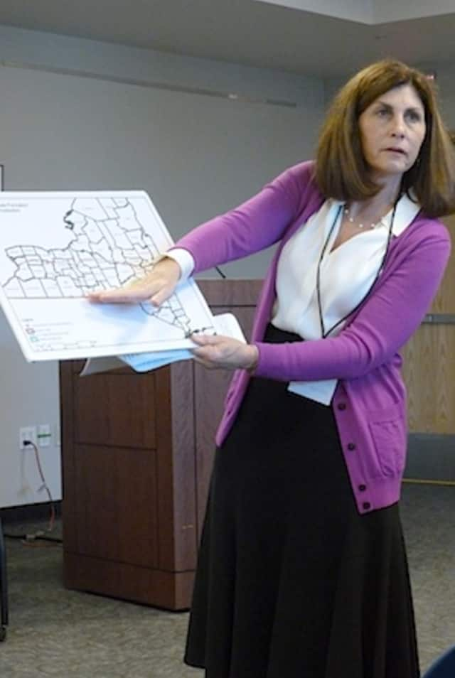 Susan Van Dolsen, co-founder of Westchester for Change, shows a map of the Marcellus Shale in New York to AAUW members in Greenburgh on Wednesday.