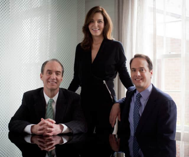 Left to right are Stephen Meyers, Nancy Seaman and Chris Meyers, the brother and sister leadership team for Houlihan Lawrence.  Brotherhood & Higley, New Canaan's oldest real estate brokerage, announced on Tuesday it would affiliate with HL.