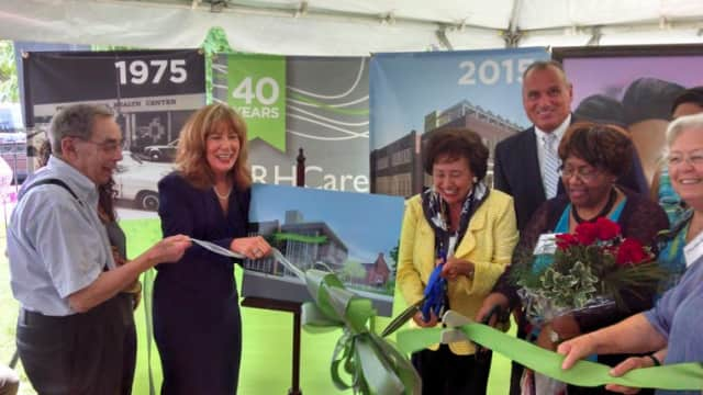 Left to right: Dr. Jack Geiger, Anne Nolon, CEO; Congresswoman Nita Lowey, Peekskill Mayor Frank Catalina, and the Jeannette Phillips cut the ribbon Monday at the dedication of the Jeannette J. Phillips Health Center in Peekskill.