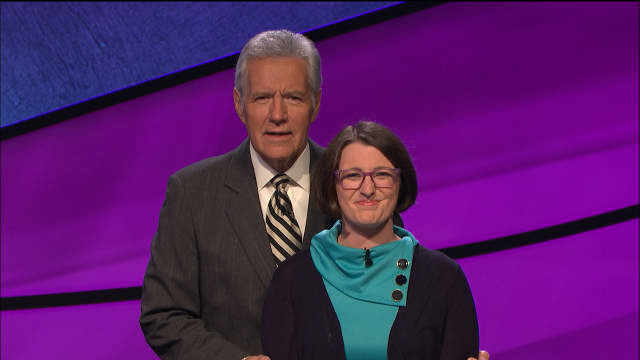 """Rye native Julia Lawrence with Alex Trebek, host of """"Jeopardy!"""" The 2002 graduate of Rye Country Day School will appear on Friday night's edition at 7 p.m. on WABC-TV. She said she was surprised to discover Trebek """"was a real human being."""""""