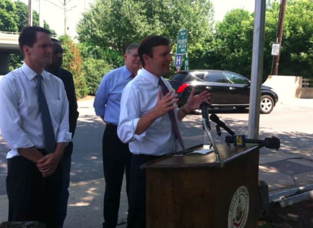 U.S. Sen. Chris Murphy, D-Conn., speaking at a press conference in Stamford Monday asking for highway funding to be maintained by the U.S. Congress.