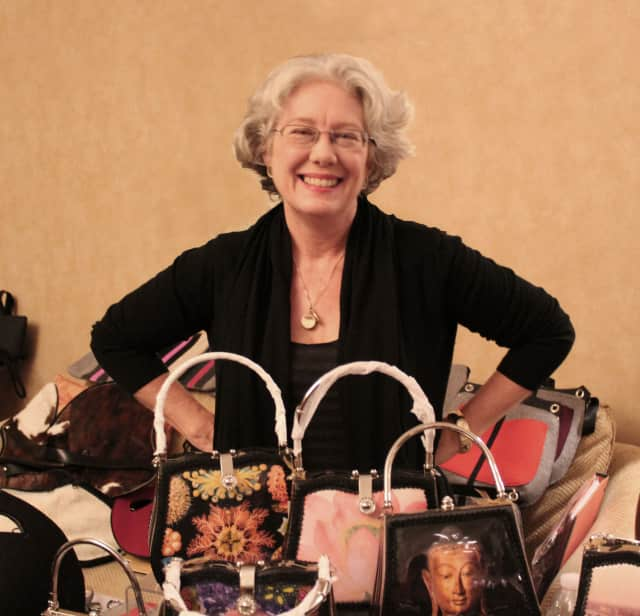 Art Bags founder Debora Crichton displays some of her artisan handbags for Wine, Cheese and Accessories, a Ladies Night Out at 6 p.m. on Oct. 7 at Founders Hall in Ridgefield.