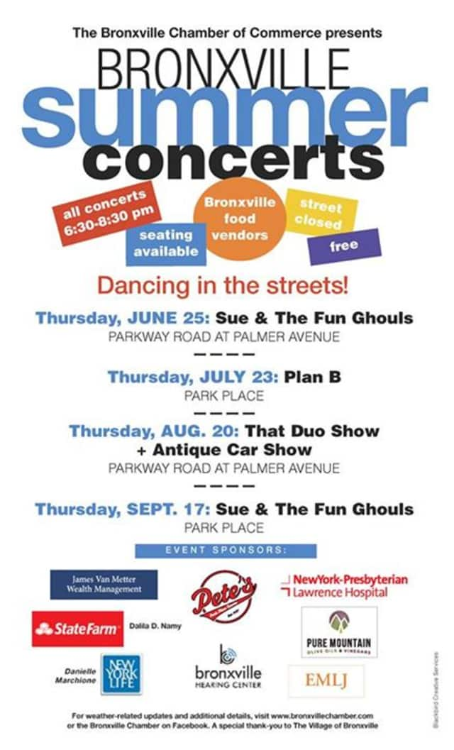 The Bronxville Chamber of Commerce is putting on concerts throughout the neighborhood on a monthly basis this summer.